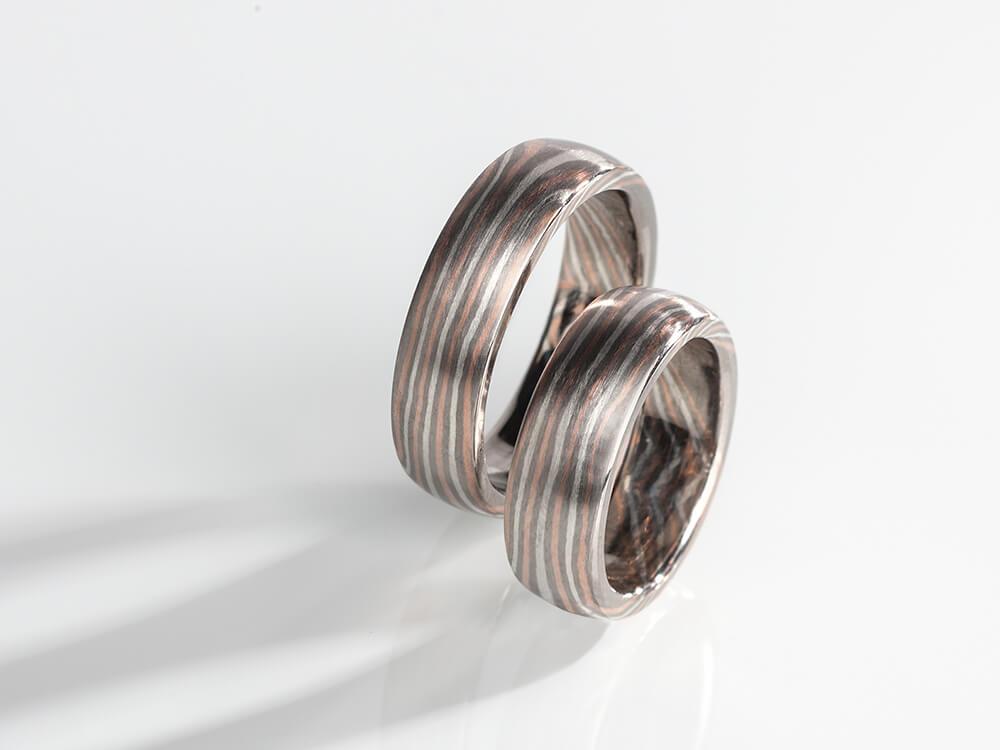 Nieuw 7 - Mokume Gane ring in roodgoud palladium en zilver