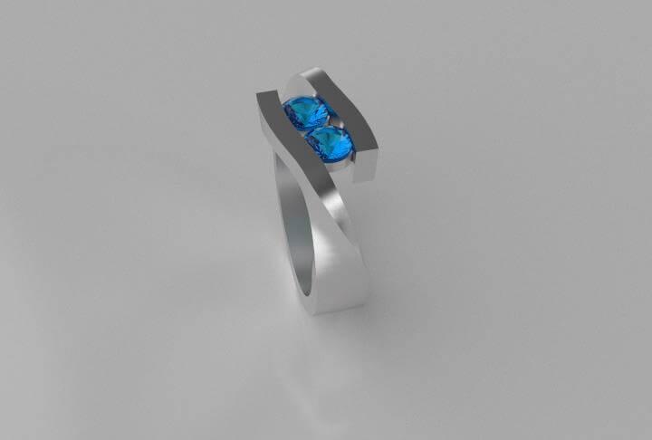 Nieuw 8 - Ring in zilver met blauwe zirkonia