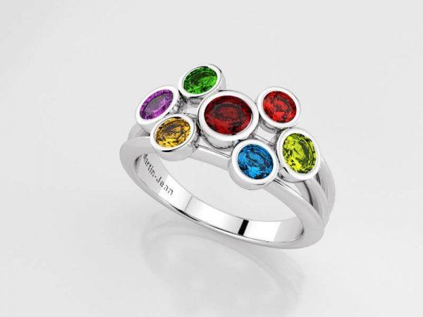 Ring in zilver met 7 saffieren